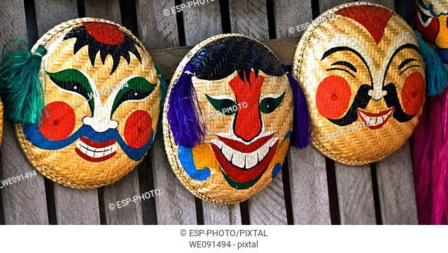 Colorful masks Hanging in Shop Hanoi, Vietnam