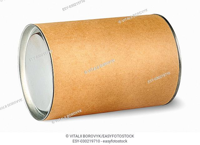 Cardboard tube with metal lids isolated on white background