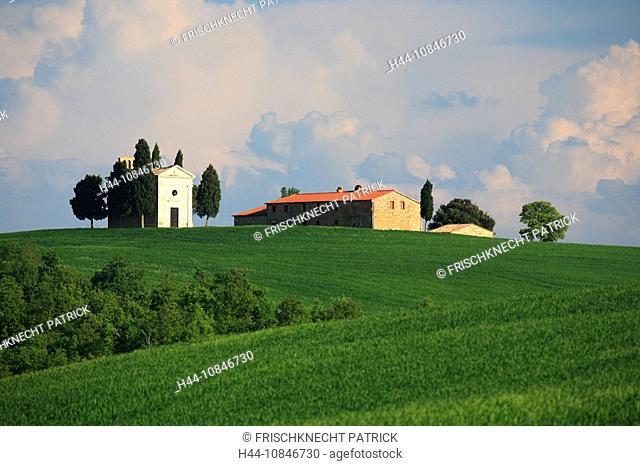 Italy, Europe, Tuscany, Toscana, chapel, Vitaleta, hills, hill, scenery, landscape, nature, landscape, fields, cypress