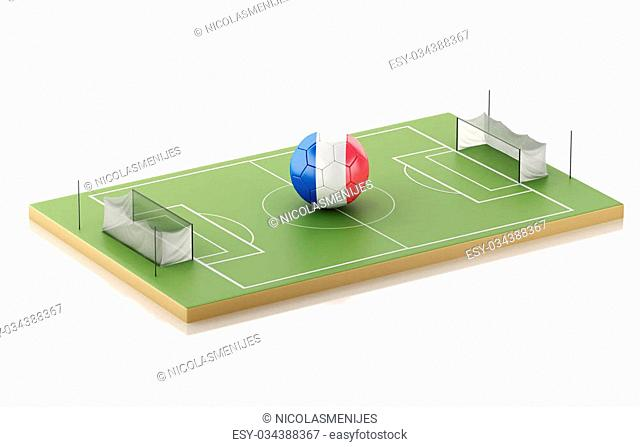 3d illustration. Soccer field and France ball. Sports concept. Isolated white background
