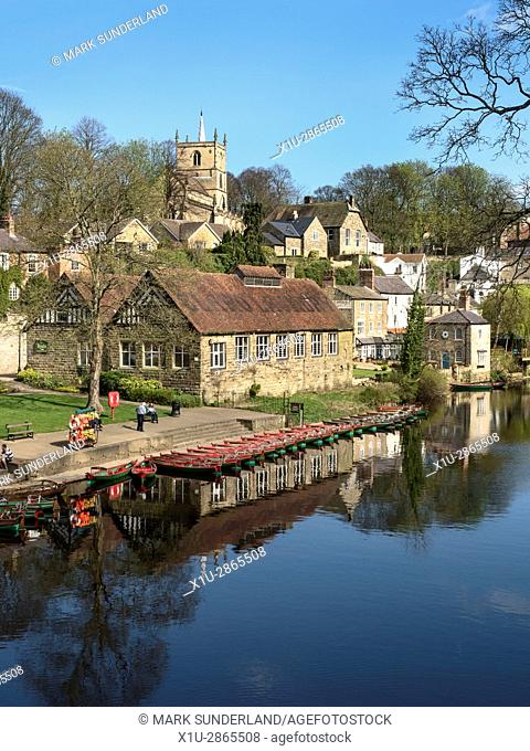 Rowing Boats on the River Nidd in Spring Knaresborough North Yorkshire England