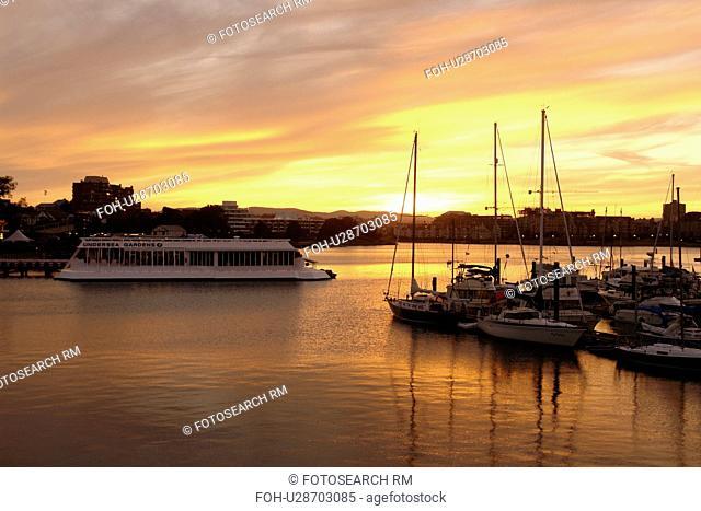 Victoria, British Columbia, Canada, Vancouver Island, Inner Harbour, Undersea Gardens, waterfront, marina, sunset