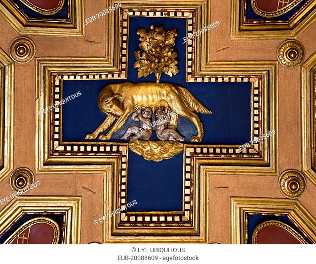 Capitoline Museum Palazzo dei Conservatori Ceiling caisson depicting Romulus and Remus feeding from the she wolf