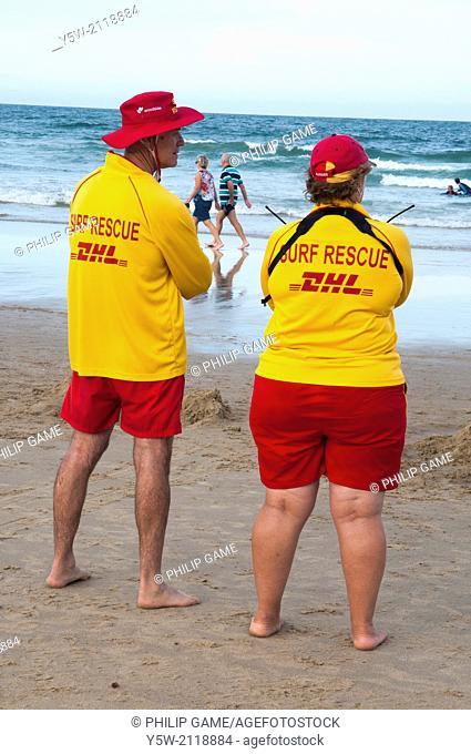 Lifesavers on watch at a Sunshine Coast beach, Queensland, Australia