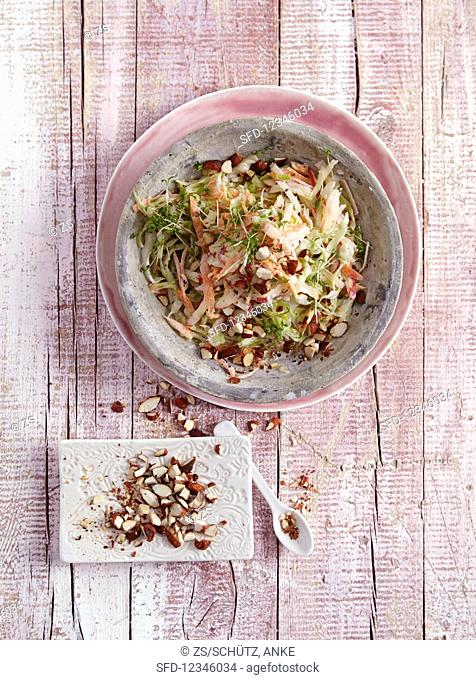 Spicy cabbage and carrot salad with roasted, smoked almonds and cress - 'Early Spring Slaw