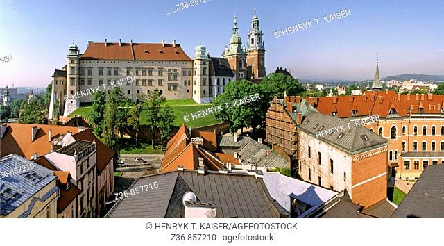 Poland, Krakow, Wawel Hill from high