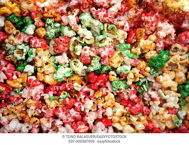 multi color children sweet pop corn macro texture