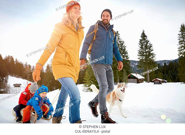 Parents pulling sons on toboggan in winter landscape, Elmau, Bavaria, Germany