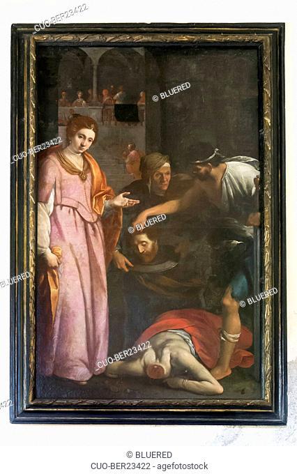 Picture on San Giovanni battista church, Santa Brigida, Lombardy, Italy