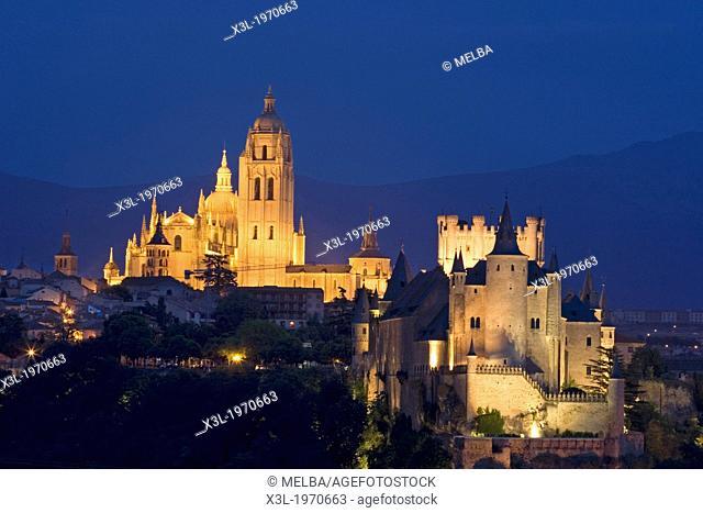 Alcazar and cathedral of Segovia.Castilla y Leon. Spain