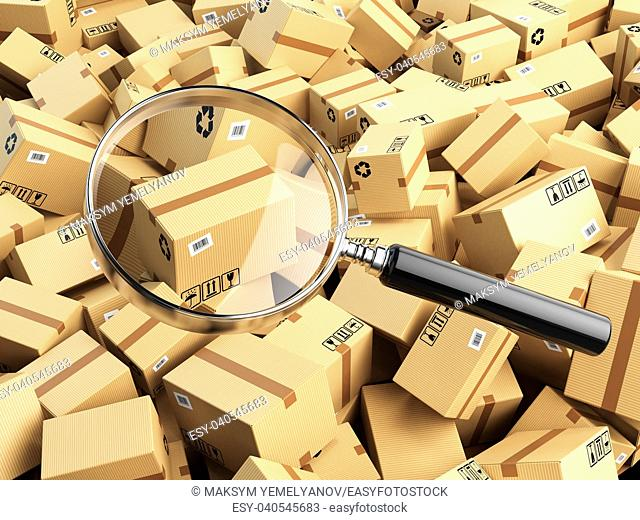 Delivery, shipping, logistics concept. Cardboard box tracking search. Loupe and boxes. 3d illustraion