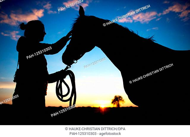 The silhouette of a young woman and her horse in front of the evening sky in Wardenburg (Germany), 10 July 2018.   usage worldwide