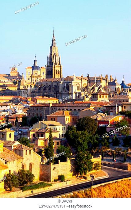 Primate Cathedral of Saint Mary in summer morning. Toledo, Spain
