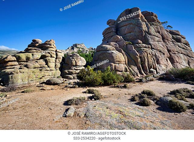 Cliffs on the Pass of the Milling in The Pedriza. Sierra de Guadarrama. Manzanares el Real. Madrid. Spain. Europe