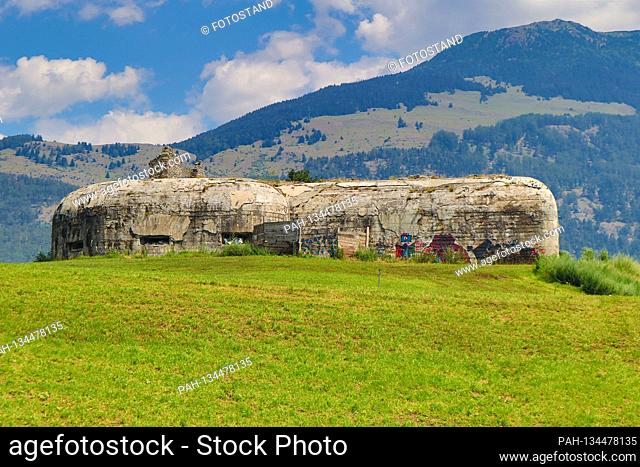 South Tyrol, Italy July 2020: Impressions of South Tyrol July 2020 Laatsch, Vinschgau, South Tyrol, market square, bunker from the First World War | usage...