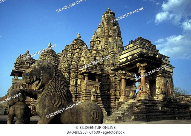 The Hindu temple arrangement of Khajuraho in the province of Madhya Pradesh in Centrally India in India
