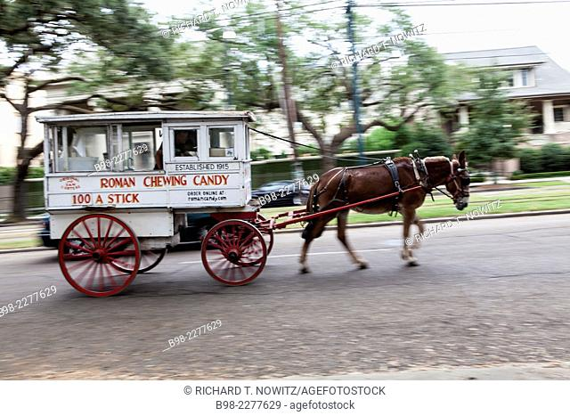 A horse drawn candy cart travels along Charles street in the Garden District of New Orleans, Louisiana