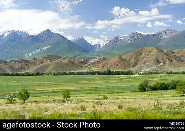 Agriculture near lake Issyk-Kul. Tien Shan mountains or heavenly mountains in Kirghizia. Asia, central Asia, Kyrgyzstan