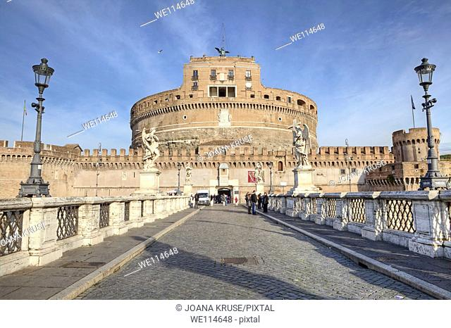 Castel Sant'Angelo - Castel Sant'Angelo - Rome, Lazio, Italy, was originally built as a mausoleum for Emperor Hadrian and later rebuilt by various popes to the...