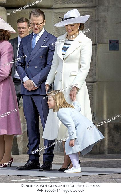Prince Daniel, Crown Princess Victoria and Princess Estelle at the inner court yard of the Royal Palace in Stockholm to celebrate the 70th birthday of the...
