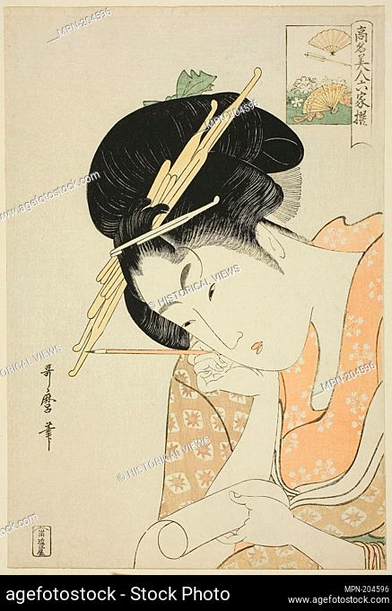 "Hanaogi of the Ogiya, from the series """"Renowned Beauties Likened to the Six Immortal Poets (Komei bijin rokkasen)"""" - c"