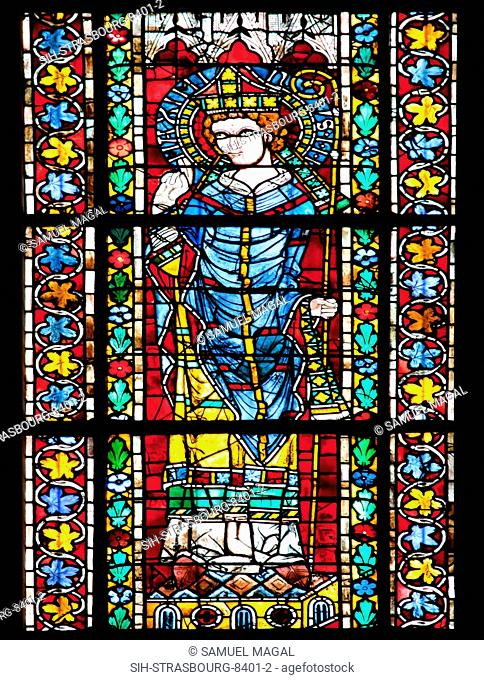 A stained glass window, depicting Maximinus Thrax, also known as Maximinus I, was a Roman Emperor from 235 to 238