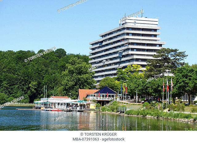Former hotel Intermar, Diekseepromenade at Lake Dieksee, Bad Malente-Gremsmühlen, Malente, Schleswig-Holstein, Germany, Europe