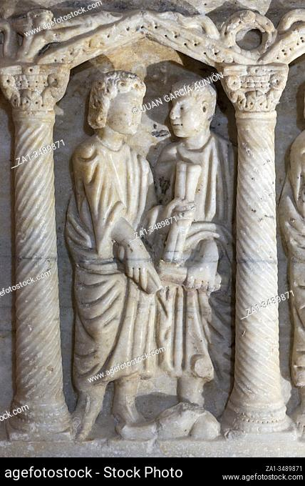 Jaen, Spain - December 29th, 2017: . Resurrection of the dead of The Young Man from Nain Jesus miracle. Paleochristian sarcophagus of Martos, 330 AC