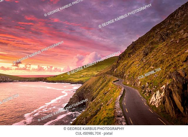Slea Head Drive at sunset, Dingle, Kerry, Ireland