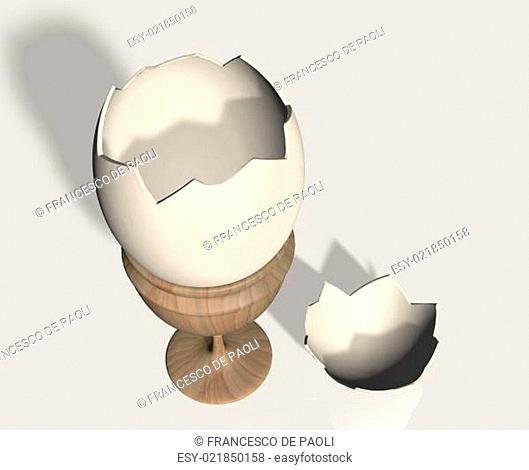 Broken eggshell on egg cup