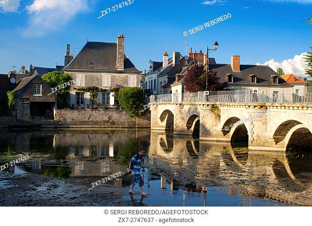 The pretty quiet village of Azay le Rideau by the Indre river, Loire Valley, France
