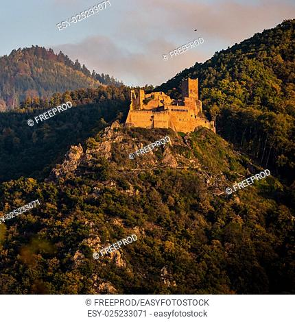 Ribeauville, the castle Saint-Ulrich and Gilsberg, Alsace, France