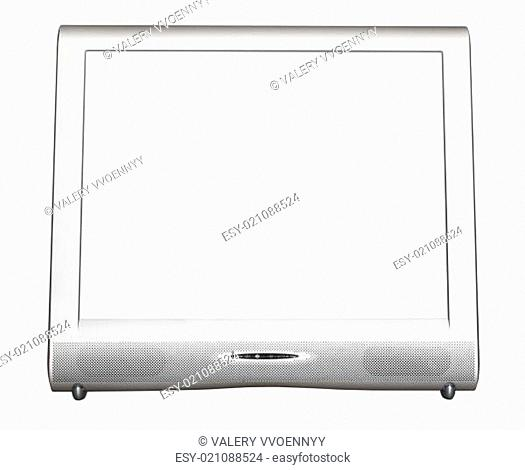 front view of silver TV set with cut out screen