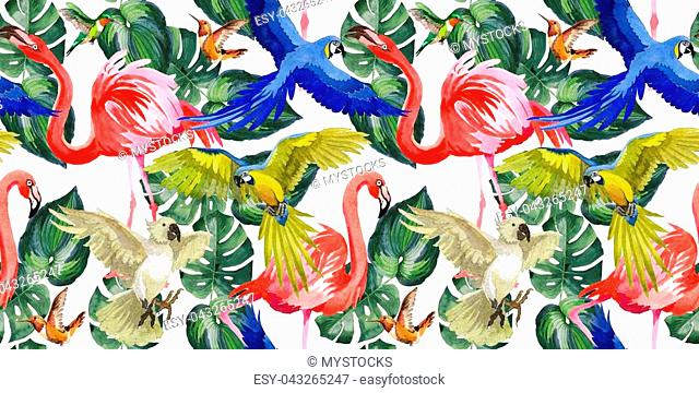 Sky bird parrot pattern in a wildlife by watercolor style. Wild freedom, bird with a flying wings. Aquarelle bird for background, texture, pattern, frame