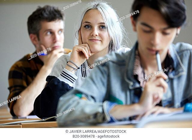 Students, Classroom, College, School of Business Studies, University, Donostia, San Sebastian, Gipuzkoa, Basque Country, Spain, Europe