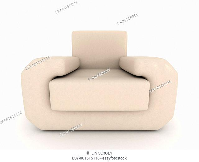 leather armchair on a white background. 3D image