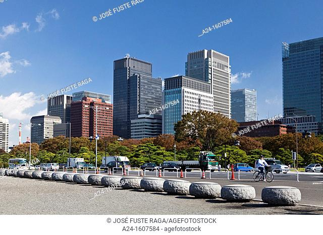 Japan-Tokyo City-Marunouchi Financial District Skyline
