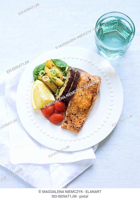 Still life of salmon and aubergines with plum tomatoes