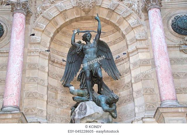 The fountain Saint Michel is a fountain situated in the 6th district of Paris on the place (square) Saint Michel, in the crossing of the boulevard Saint Michel...