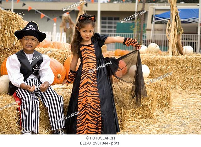 Younglings posing for halloween