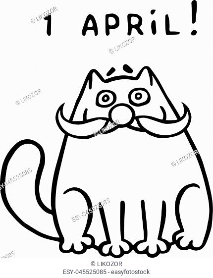 Funny fat cat with clown mask. The April holiday is a fool's day. Vector Illustration