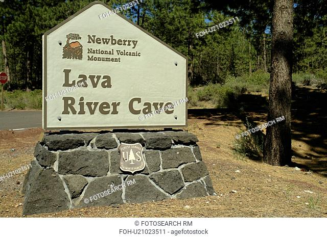 Bend, OR, Oregon, Newberry National Volcanic Monument, Lava River Cave, Deschutes National Forest, entrance sign