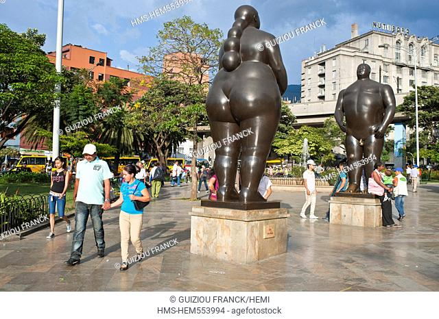 Colombia, Antioquia Department, Medellin, downtown, Villanueva District, Plaza Botero where stand 23 huge sculptures by Botero