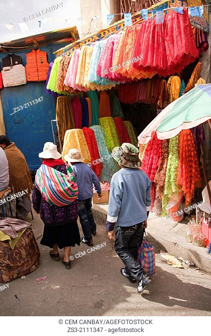Scene from a street market in town center, La Paz, Bolivia, South America