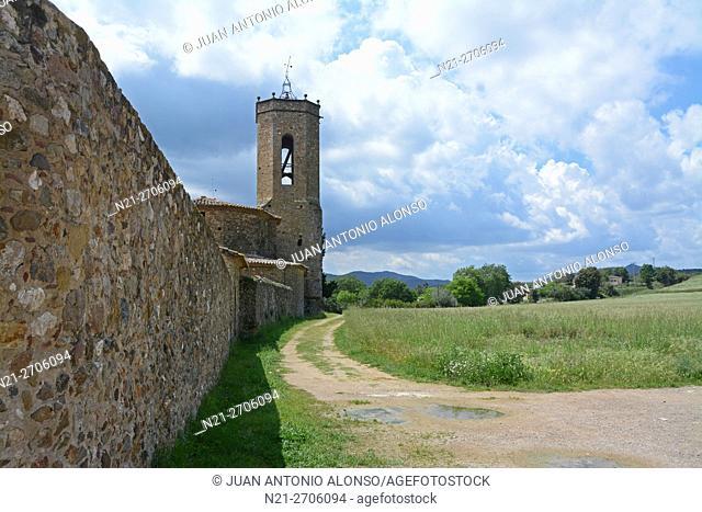 Sant Genis de Monells church. Monells, Baix Emporda, Girona, catalonia, Spain, Europe