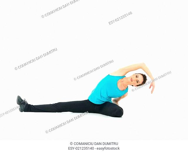 sexy woman showing fitness moves, white background