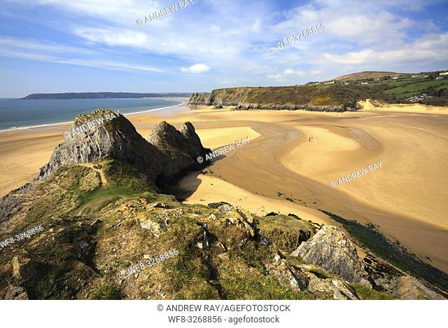 Three Cliffs Bay on the Gower Peninsula in South Wales captured from the cliffs to the East of the beach