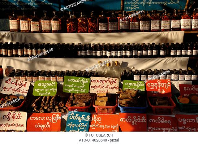 Row of bottles on a shelf