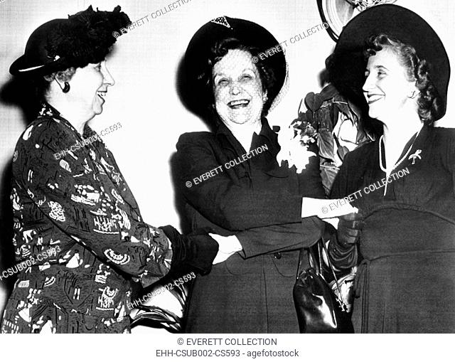 Pearl Mesta, aboard the S.S. America leaving to serve as Ambassador to Luxembourg. Aug. 16, 1949. She was seen off by First Lady Bess and Margaret Truman