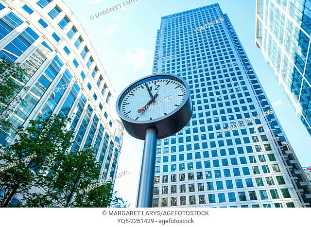 Modern architecture, Clock, Canary Warf, Docklands, London, England